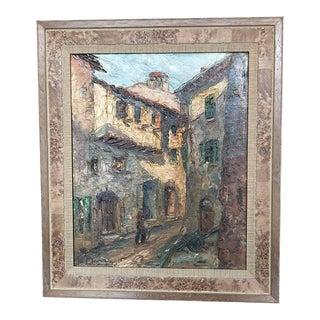 European Street Scene Painting For Sale