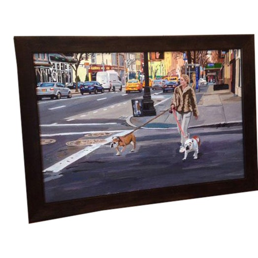 Framed Acrylic Painting on Canvas 'Life in the City' For Sale
