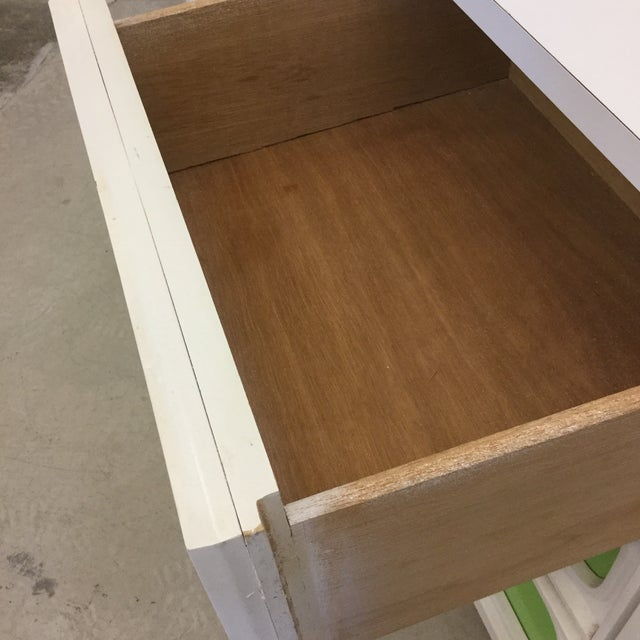 Paint Mid Century Lime Green & White 9 Drawer Dresser For Sale - Image 7 of 13