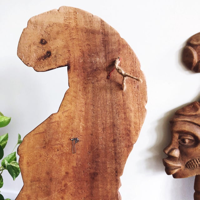 Vintage African Wooden Faces Wall Art For Sale - Image 4 of 6