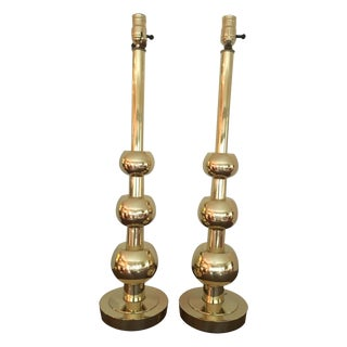 1960s Vintage Stiffel Brass Table Lamps - a Pair For Sale