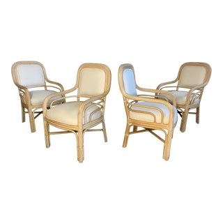 Set of Four Pencil Reed Twisted Rattan Dining Chairs For Sale