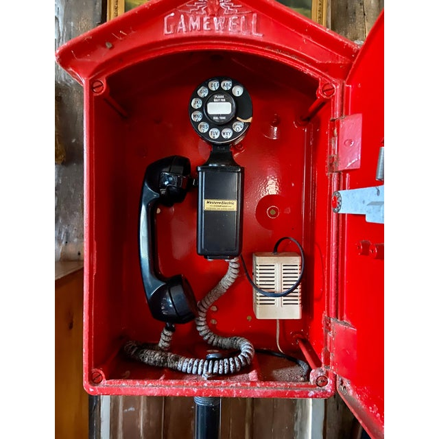 Mid-1900s Red Gamewell Cast Iron Fire Alarm Master Box W/ Western Electric Phone For Sale - Image 12 of 13