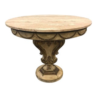 Italian Painted Travertine Top Venetian Style Centre Table For Sale