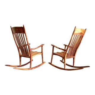 20th Century Organic Raiatea Woodworks Koa Wood Rocking Chairs - a Pair