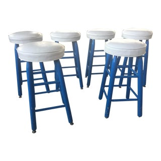 6 Barstools Blue and White For Sale