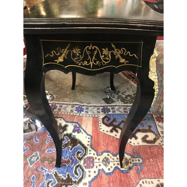 20th Century Hollywood Regency French Boulle Style Brass Game Table Console For Sale - Image 11 of 11
