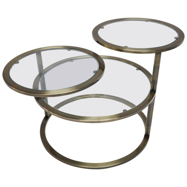 Gold Three Tiered Brass Coffee/Side Table With Adjustable Shelves For Sale - Image 8 of 8