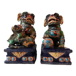 Vintage Colorful Foo Dogs - A Pair For Sale