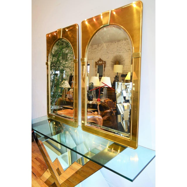 Mastercraft Pair of Brass Mirrors For Sale In Chicago - Image 6 of 7