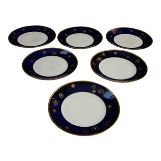Lichte Fine China East Germany Cobalt Blue Snowflake Plates - Set of 6