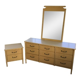 1960s Vintage Faux Bamboo Dresser, Nightstand & Mirror For Sale