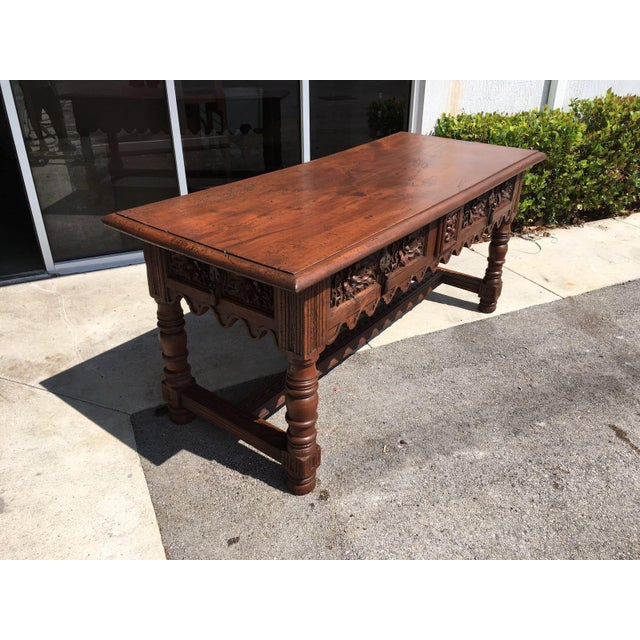 17th Century Spanish Baroque Carved Walnut, Refectory Console Table For Sale In Miami - Image 6 of 10