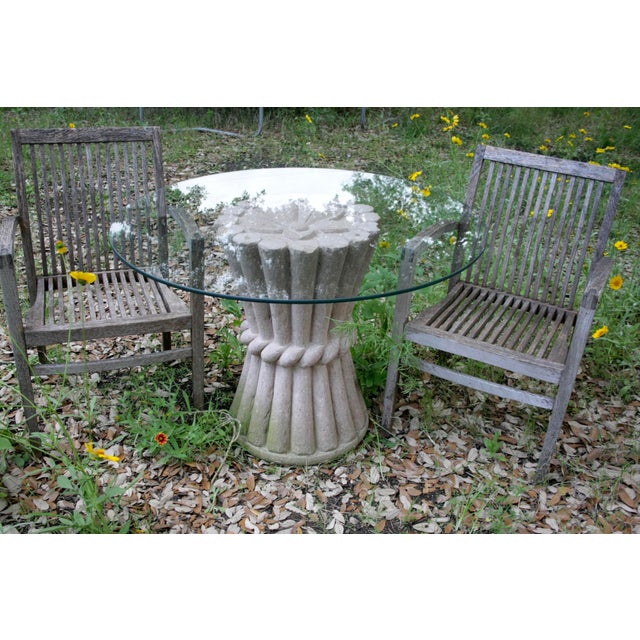 Carved Pink Cantera Stone Dining Table, Hall Table or Patio Table For Sale - Image 4 of 11