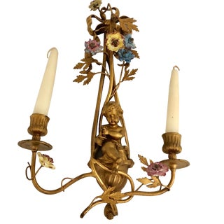 19th Century French Gilt Bronze Two Light Candle Sconce With Cherub For Sale