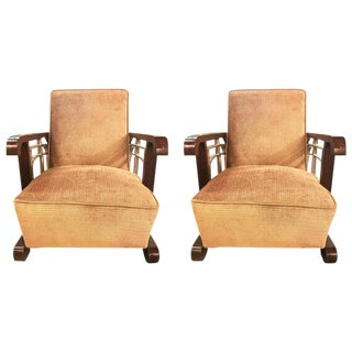 Art Deco Chrome and Rosewood Arm or Lounge Chairs - A Pair