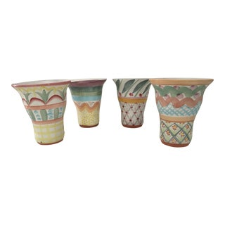 1990s MacKenzie-Childs Ltd. Hand Painted Pottery Tumblers - Set of 4 For Sale