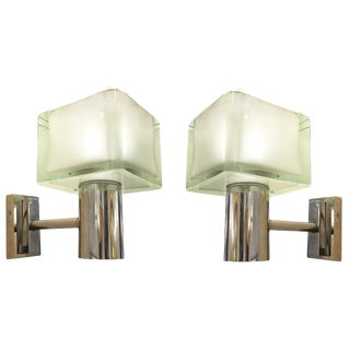 Seguso Chrome Wall Lights, Italy, 1960's - a Pair For Sale