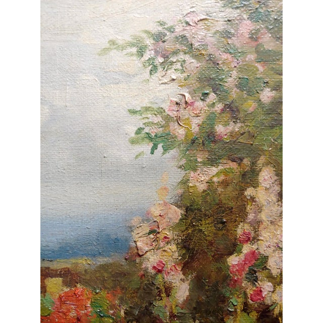 1900 - 1909 William Constable Adam-Beautiful Flower Garden With Gate -Oil Painting-1900s For Sale - Image 5 of 10