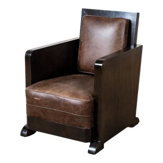 Vintage Art Deco Leather Club Chair For Sale