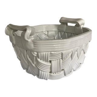 Vintage Basket Weave Ceramic Dish Made in Italy by Primogi For Sale