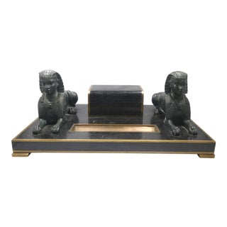 Maitland Smith French Empire Style Tessellated Marble Desk Set W Bronze Sphinxes - 4 Piece For Sale