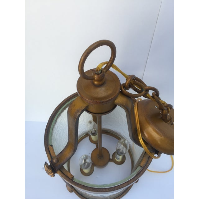 1920s Vintage Seeded Glass 3 Light Carriage Lantern For Sale - Image 5 of 12