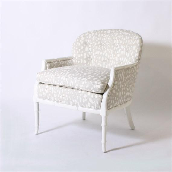 Textile Faux Bamboo Club Chair Upholstered in Jan Showers for Kravet Fabric For Sale - Image 7 of 7