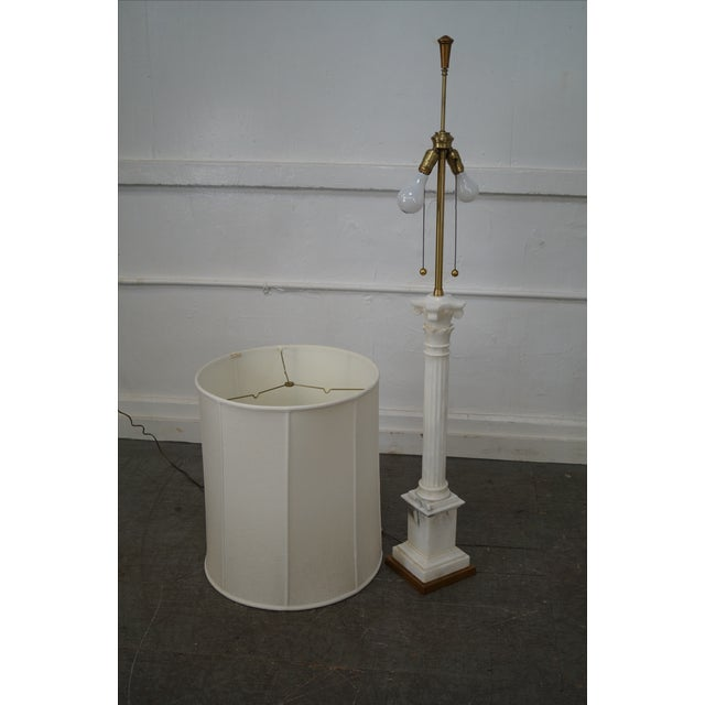 Carrara Marble Corinthian Column Lamps - Pair For Sale - Image 9 of 10