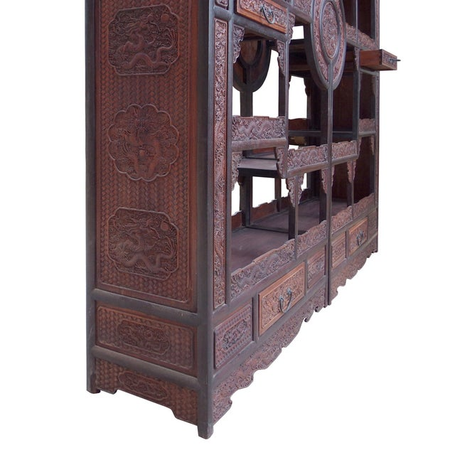 Chinese Rosewood Display Curio Cabinets - A Pair For Sale - Image 10 of 10