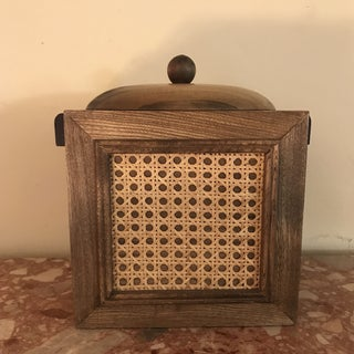1960s Brown Mid Century Cane Wooden Ice Bucket Preview