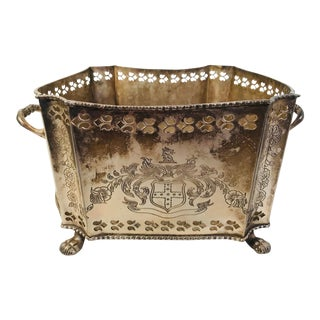 Silverplate Pierced Metal Neoclassical Style Planter For Sale