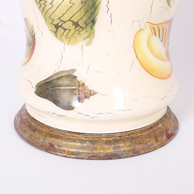 Wood Decoupage Sea Shell Table Lamps - A Pair For Sale - Image 7 of 9