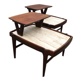 1950s Mid Century Modern Walnut & Travertine Side Tables - a Pair For Sale
