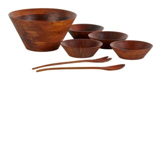 Teak Salad Bowl Set Made in Denmark - 7 Piece Set For Sale