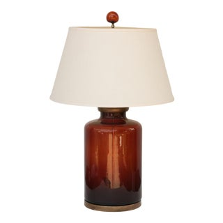 Bottle Brown Seeded Glass Table Lamp For Sale