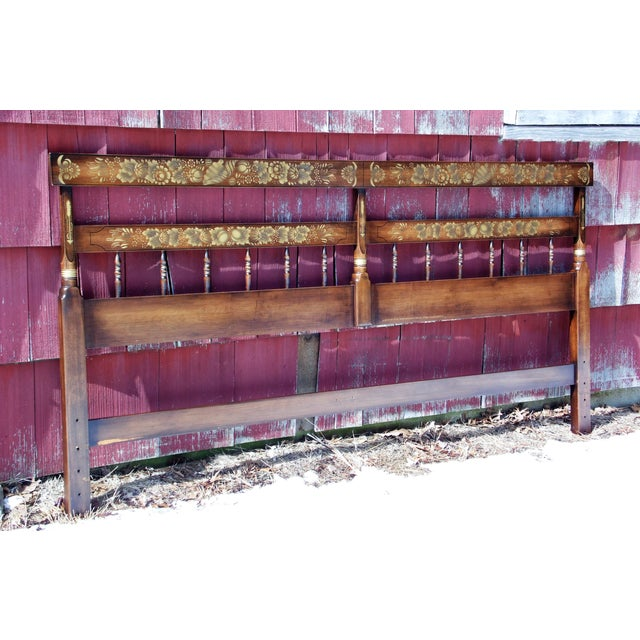 Vintage L. Hitchcock Autumn Harvest Stenciled Litchfield King Size Headboard Bed has solid dark Maple wood construction....