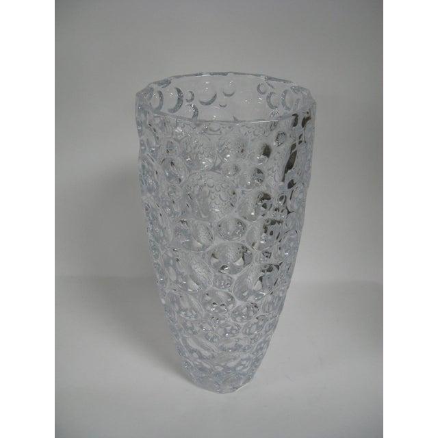 1990s Czech Vase Bubble Thumbprint Bohemia Glass For Sale - Image 10 of 10