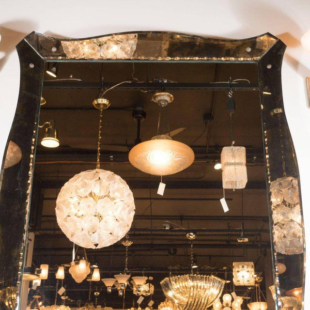 1940s 1940s, Smoked Mirror with Chain Beveled Details and Scalloped Edges For Sale - Image 5 of 7