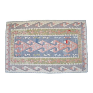 Hand Woven Turkish Flat Weave Wool Area Kilim Muted Color Oushak Rug For Sale