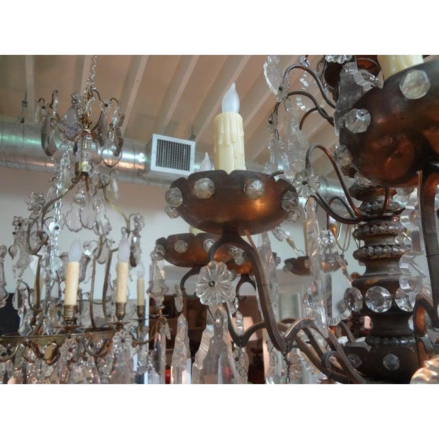 Antique French Maison Baguès Attributed Beaded and Crystal Chandelier For Sale In Houston - Image 6 of 13