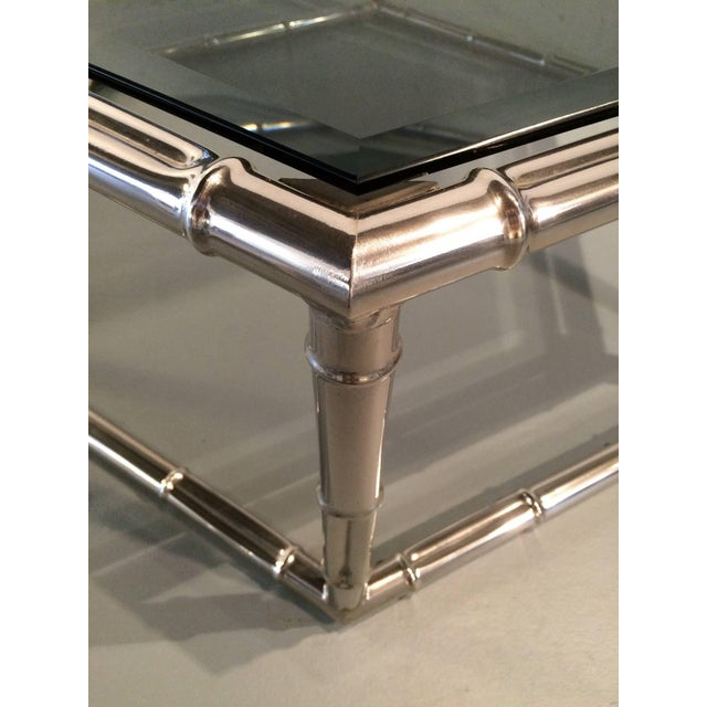 Glass Faux Bamboo Nickel and Smoked Glass Cocktail Table by Mastercraft For Sale - Image 7 of 8