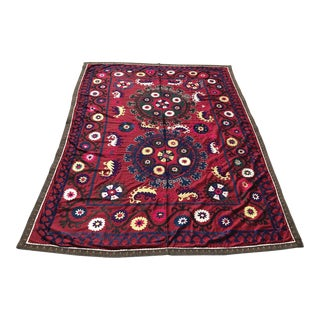 Vintage Suzani Throw Blanket For Sale