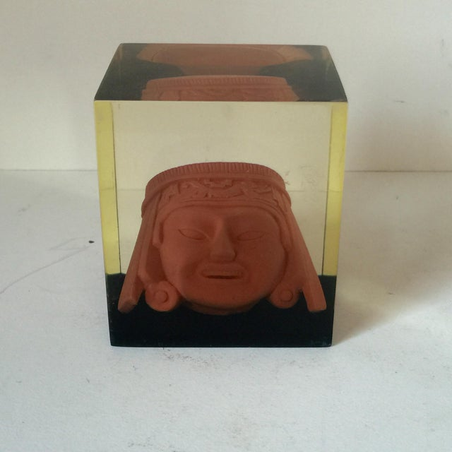 Lucite Paperweight with Aztec Mask - Image 4 of 8