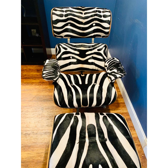 Modern Custom Zebra Hide Eames Style Lounge Chair and Ottoman For Sale In Dallas - Image 6 of 12
