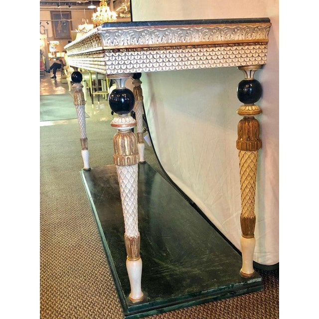 Marble Pair of Neoclassical Style Marble Top Consoles Attributed to Maison Jansen For Sale - Image 7 of 13
