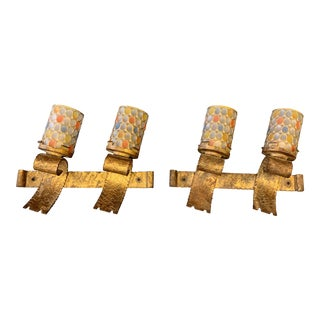Mid 20th Century Spanish Brutalist Gilt Iron Electric Wall Sconces - a Pair For Sale