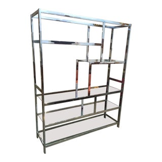 Milo Baughman Attributed Chrome and Glass Etagere
