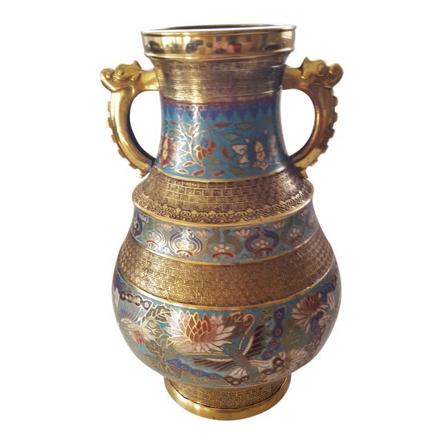 Vintage Japanese Cloisonne Brass and Hand Painted Enamel Double Handle Vase For Sale