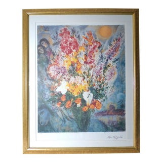 "1990s ""Floral Bouquet"" Lithograph by Marc Chagall, Framed For Sale"